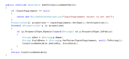 C#.net code snippet demonstrating reflection