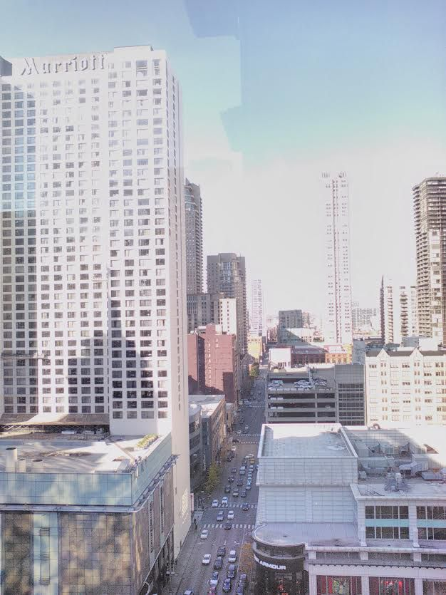 cityscape with tall buildings