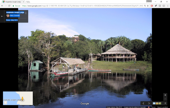 Acajatuba Jungle Lodge, screen capture of photo by Marc Crandall via Google Maps