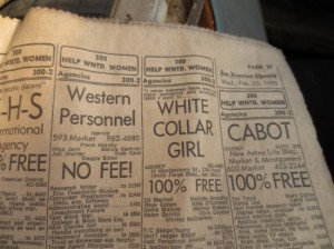 Old newspaper with classified ads showing jobs for women