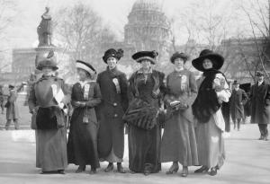 Suffragettes in 1910's dresses and hats